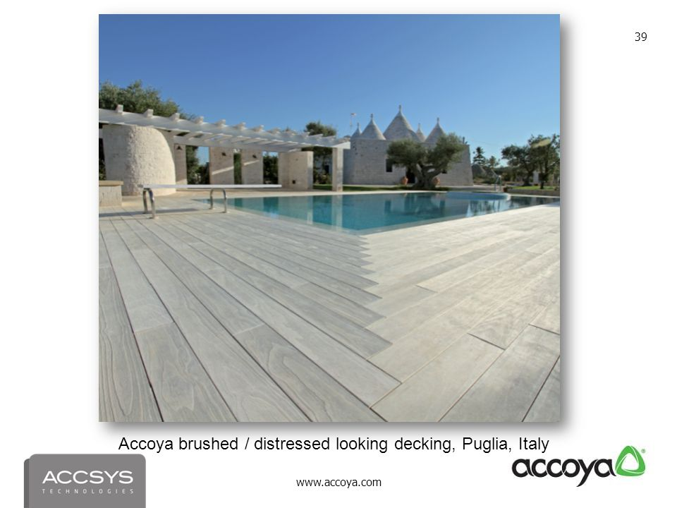 Accoya brushed / distressed looking decking, Puglia, Italy