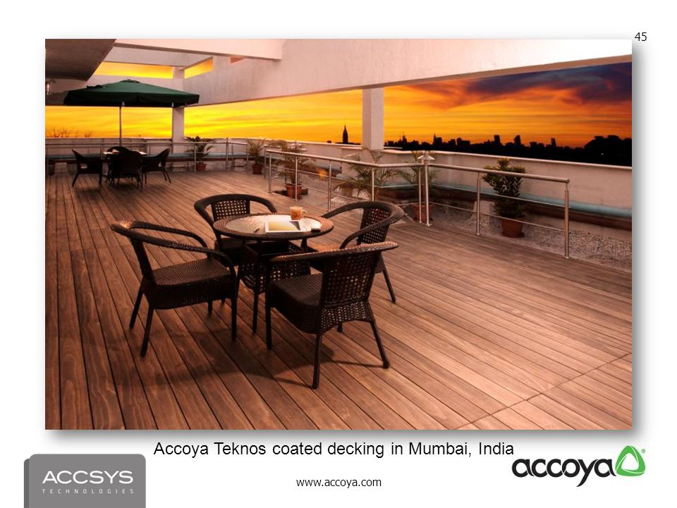 Accoya Teknos coated decking in Mumbai, India