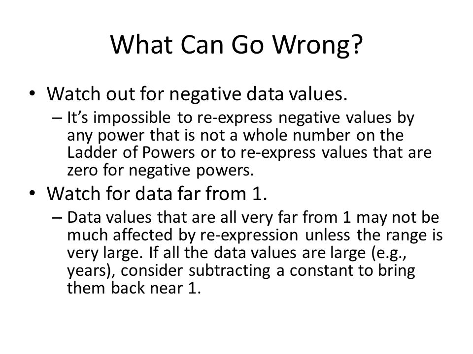 What Can Go Wrong Watch out for negative data values.