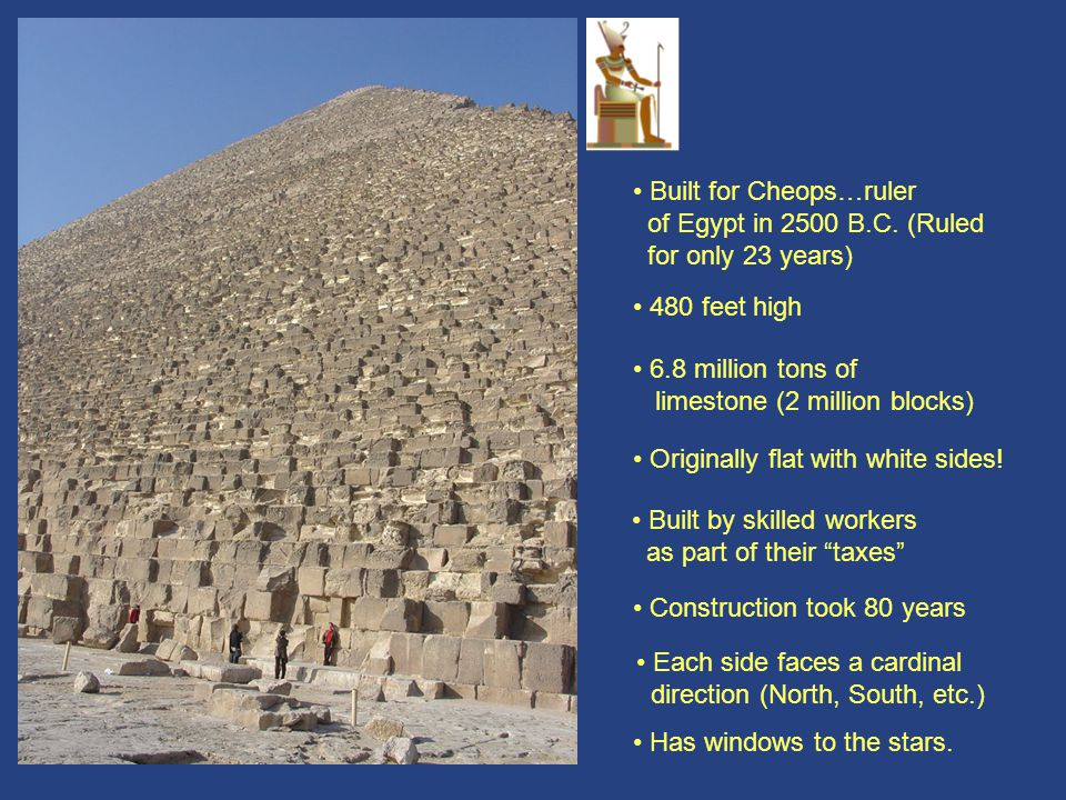 Cheops 2 • Built for Cheops…ruler of Egypt in 2500 B.C. (Ruled
