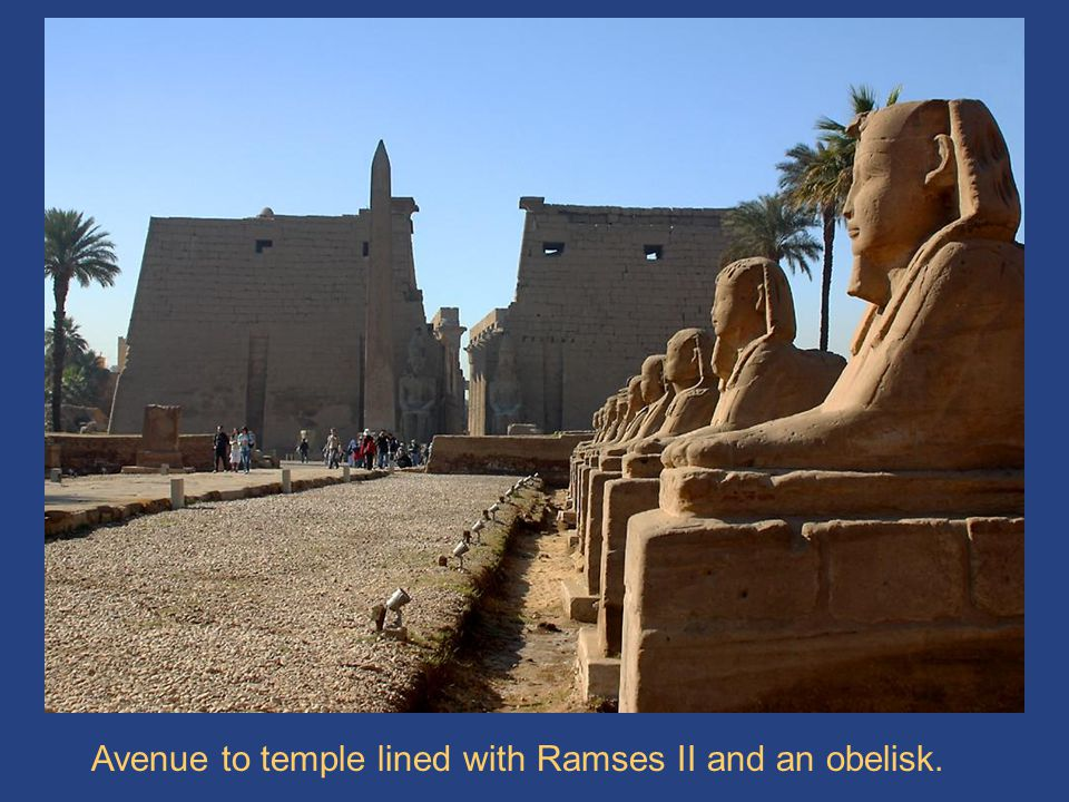 Luxor Avenue Avenue to temple lined with Ramses II and an obelisk.