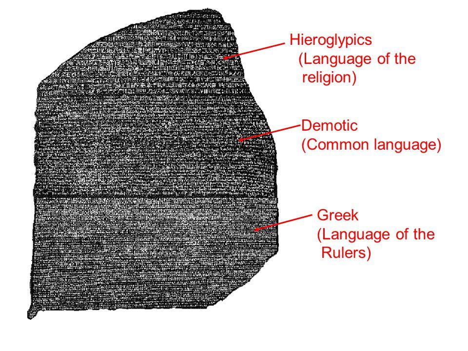 Hieroglypics (Language of the religion) Demotic (Common language)