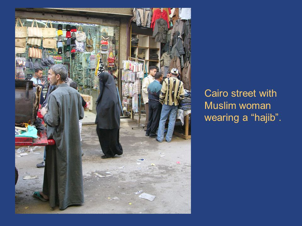 Cairo & hajib Cairo street with Muslim woman wearing a hajib .