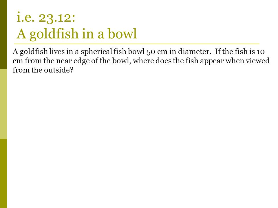 i.e. 23.12: A goldfish in a bowl