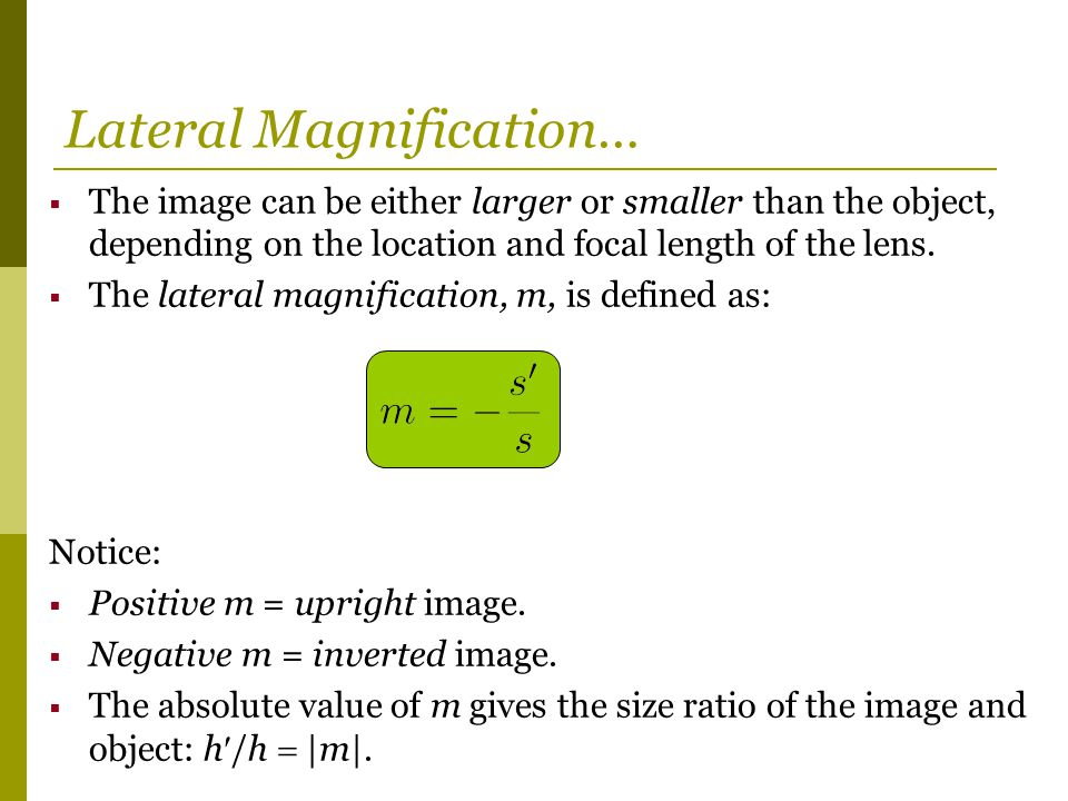 Lateral Magnification…