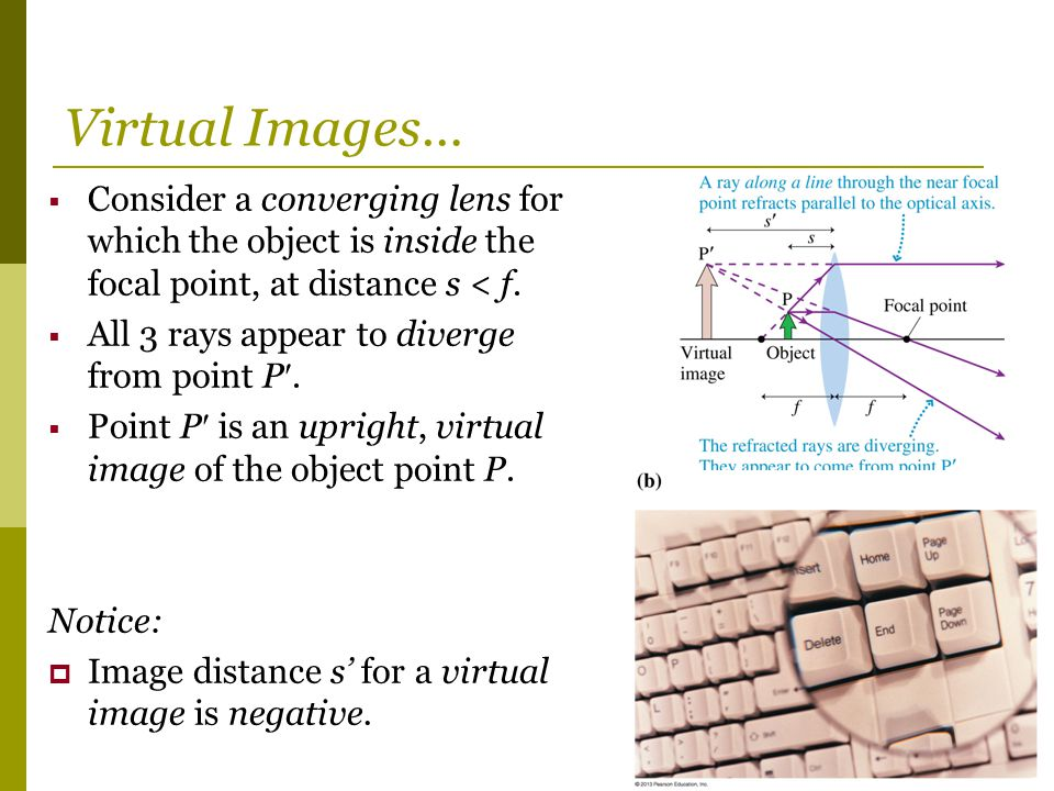 Virtual Images… Consider a converging lens for which the object is inside the focal point, at distance s < f.