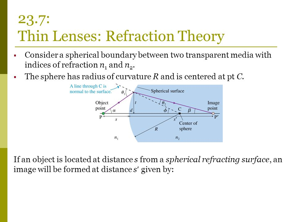 23.7: Thin Lenses: Refraction Theory