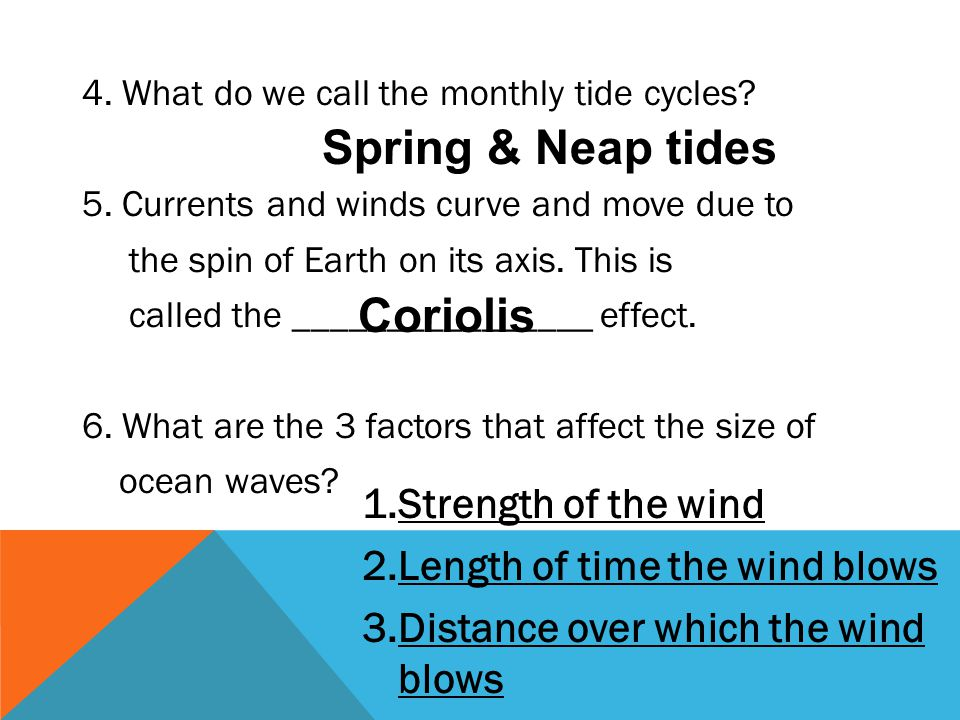 Spring & Neap tides Coriolis Strength of the wind