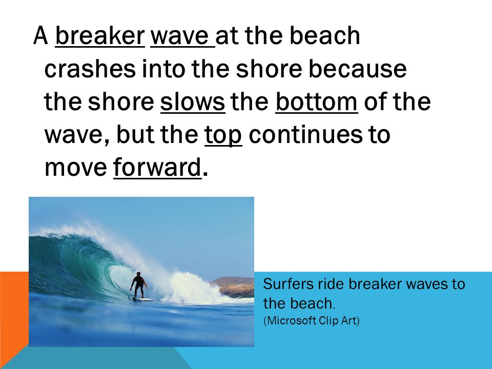 A breaker wave at the beach crashes into the shore because the shore slows the bottom of the wave, but the top continues to move forward.