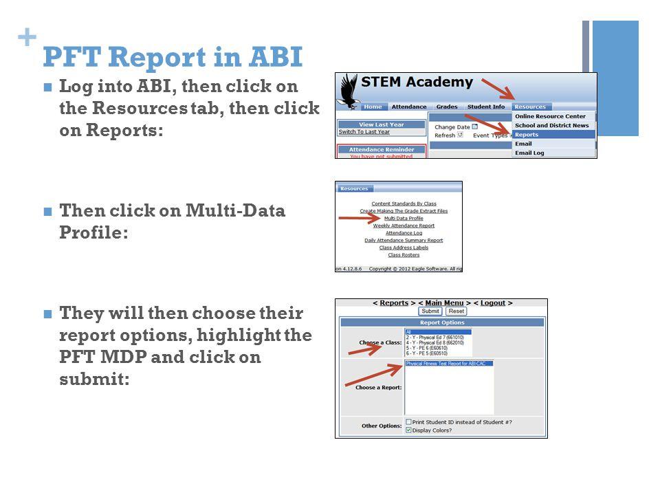 PFT Report in ABI Log into ABI, then click on the Resources tab, then click on Reports: Then click on Multi-Data Profile: