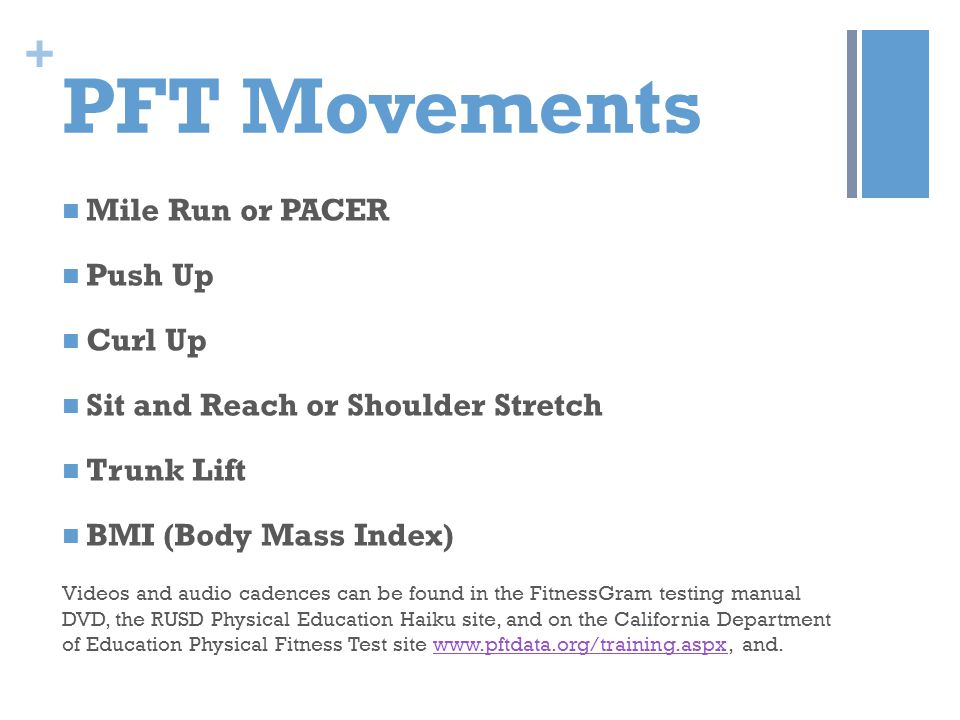 PFT Movements Mile Run or PACER Push Up Curl Up