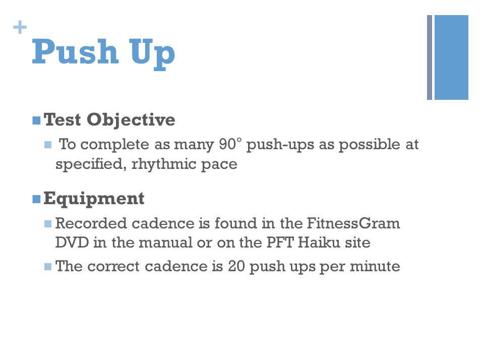 Push Up Test Objective Equipment