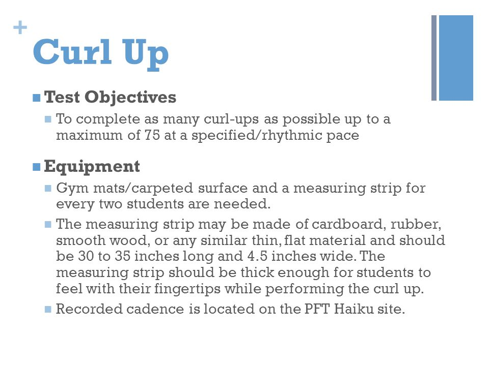Curl Up Test Objectives Equipment
