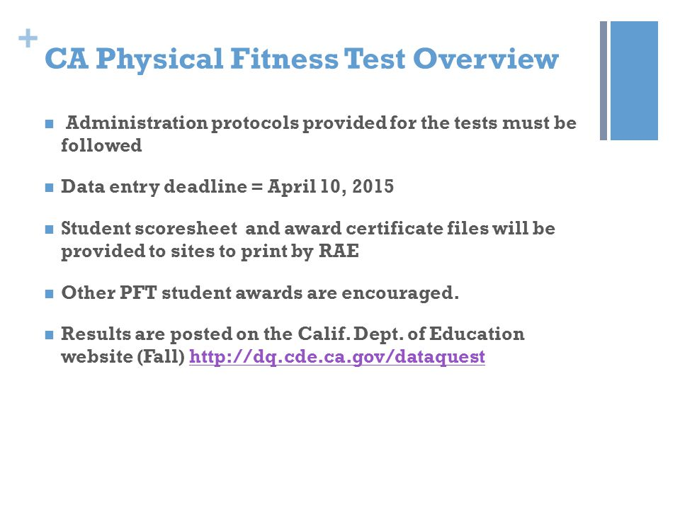 CA Physical Fitness Test Overview