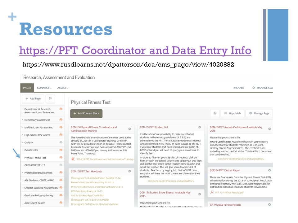 Resources https://PFT Coordinator and Data Entry Info