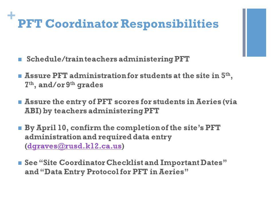 PFT Coordinator Responsibilities