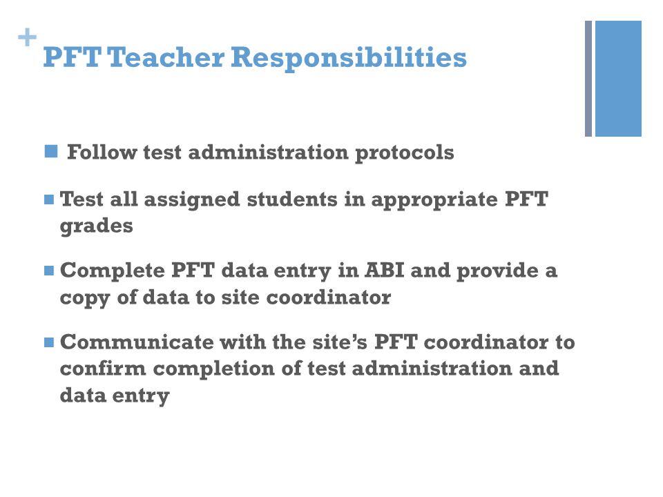 PFT Teacher Responsibilities