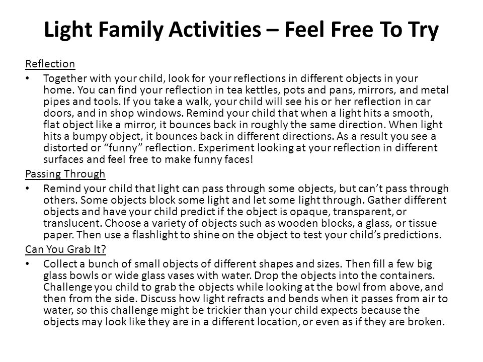 Light Family Activities – Feel Free To Try