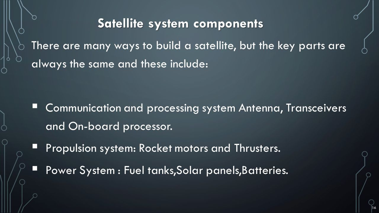 Satellite system components