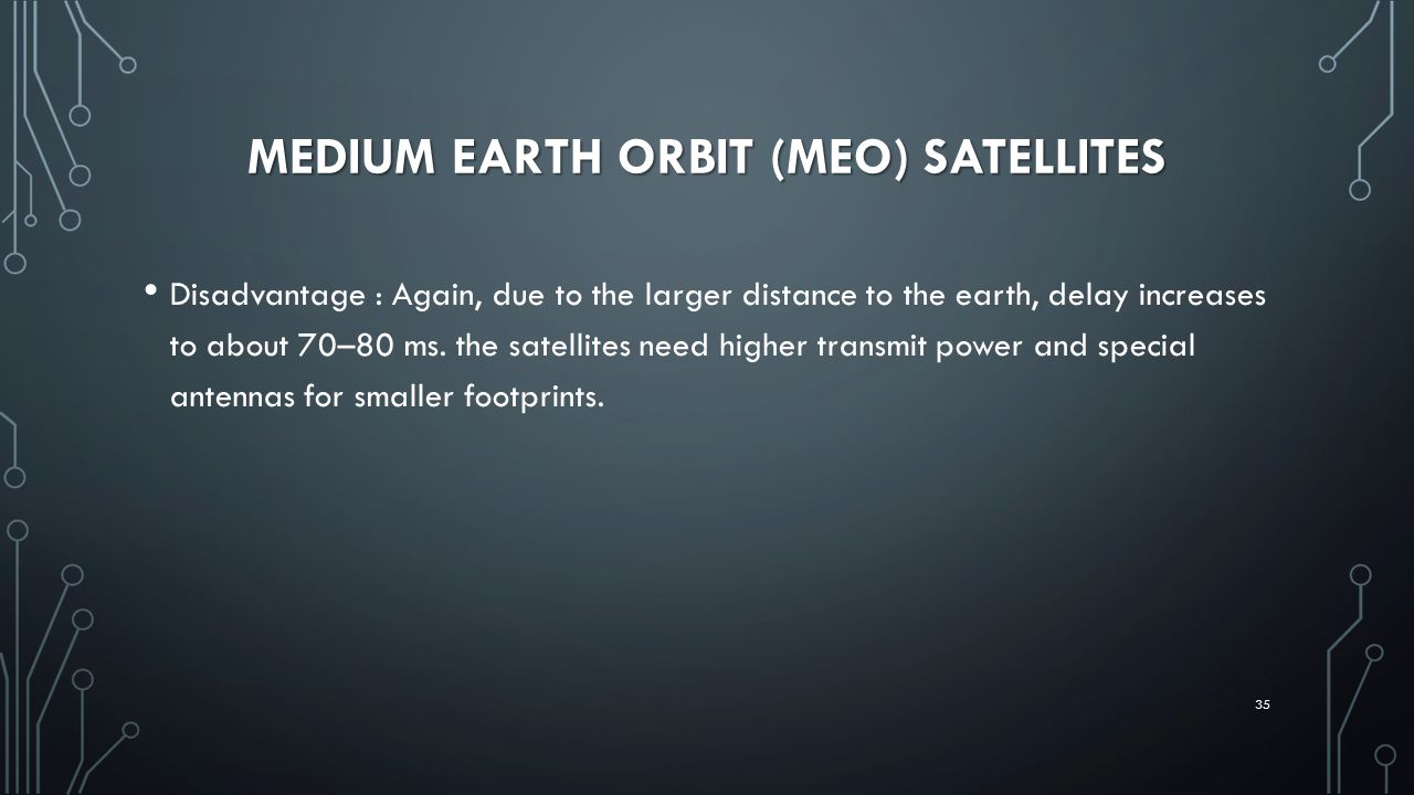MEDIUM EARTH ORBIT (MEO) SATELLITES