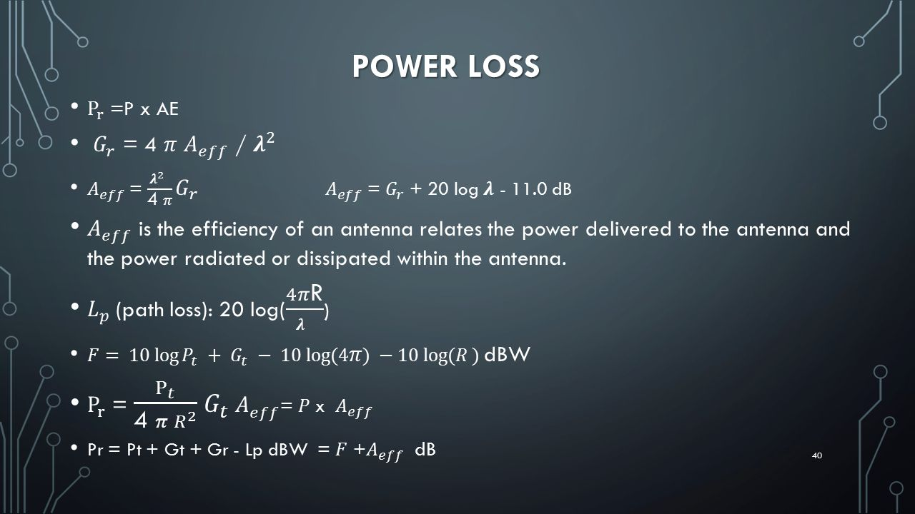 POWER LOSS P r =P x AE. 𝐺 𝑟 = 4 𝜋 𝐴 𝑒𝑓𝑓 / 𝝀 2. 𝐴 𝑒𝑓𝑓 = 𝝀 2 4 𝜋 𝐺 𝑟 𝐴 𝑒𝑓𝑓 = 𝐺 𝑟 + 20 log 𝝀 - 11.0 dB.