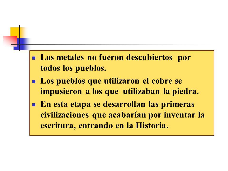 Los metales no fueron descubiertos por todos los pueblos.
