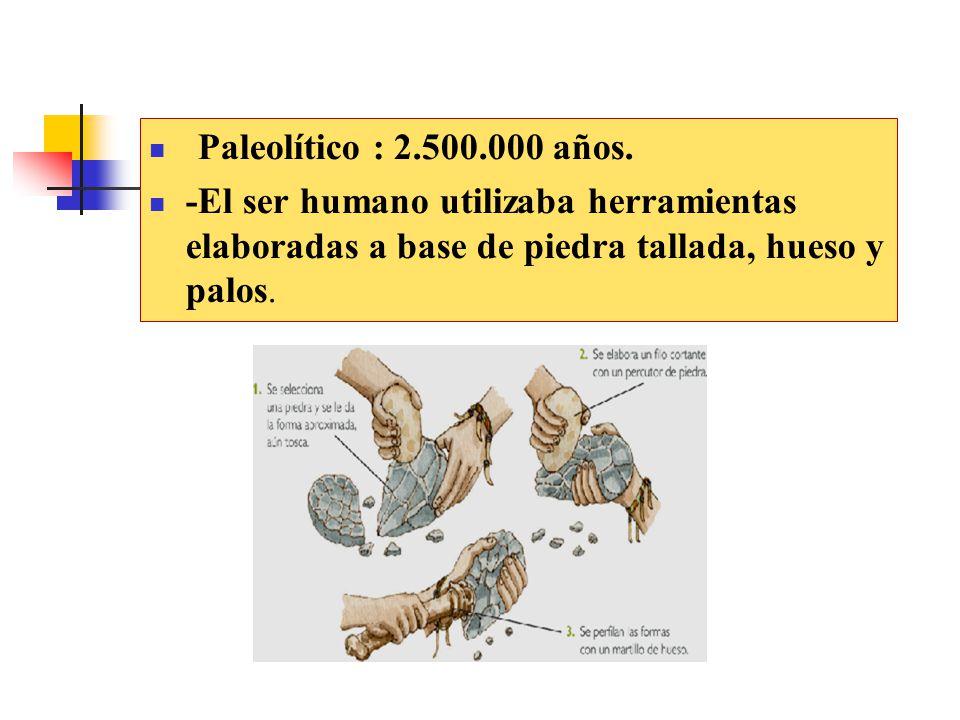 Paleolítico : 2.500.000 años.
