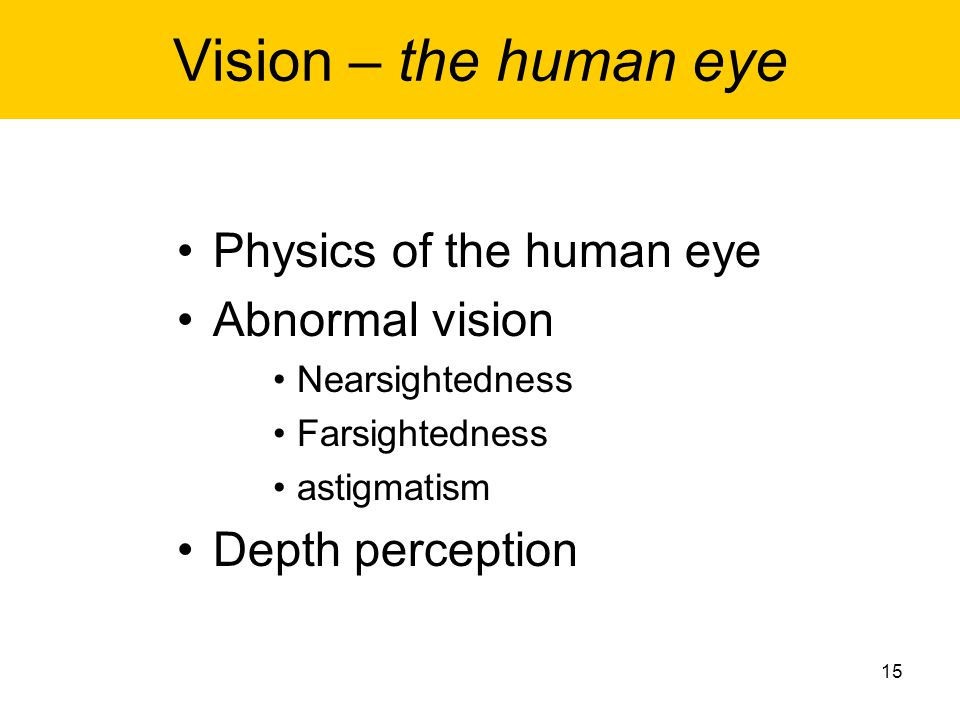 Vision – the human eye Physics of the human eye Abnormal vision