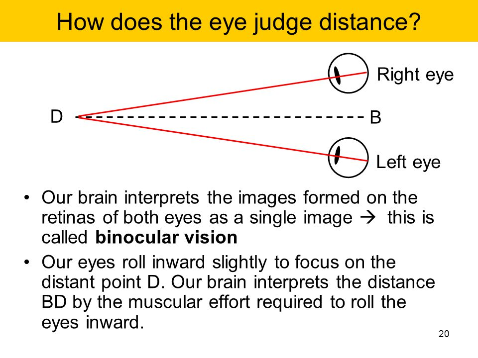 How does the eye judge distance