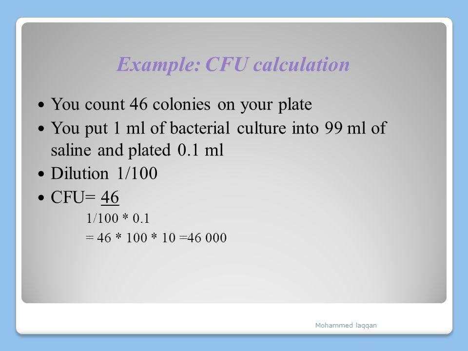 Example: CFU calculation