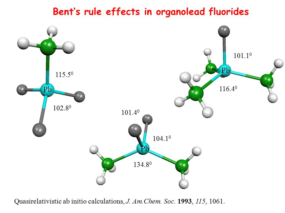 Bent's rule effects in organolead fluorides