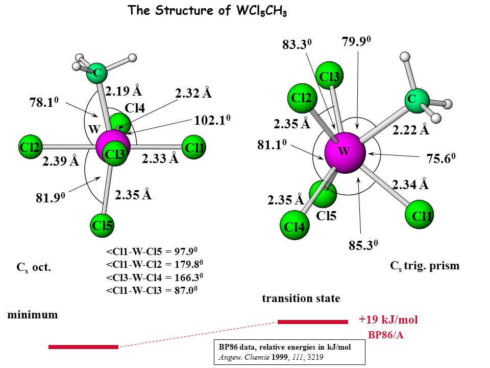 The Structure of WCl5CH3 83.30. 79.90. C. Cl3. 2.19 Å. 2.32 Å. Cl2. 78.10. C. Cl4. 102.10.