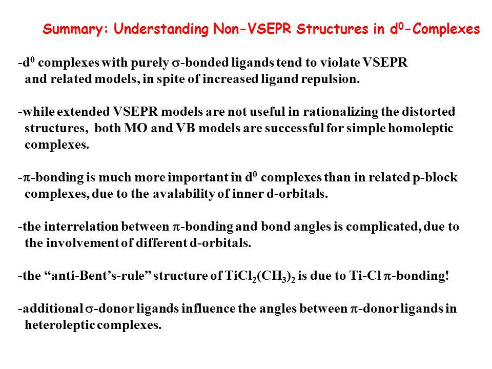 Summary: Understanding Non-VSEPR Structures in d0-Complexes