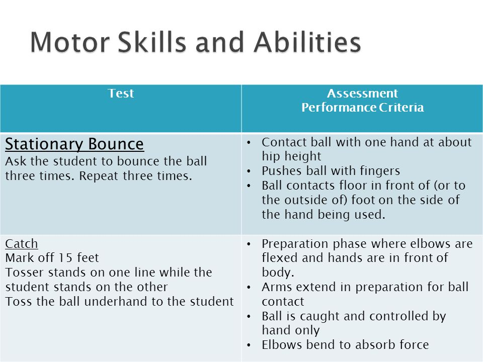 Motor Skills and Abilities