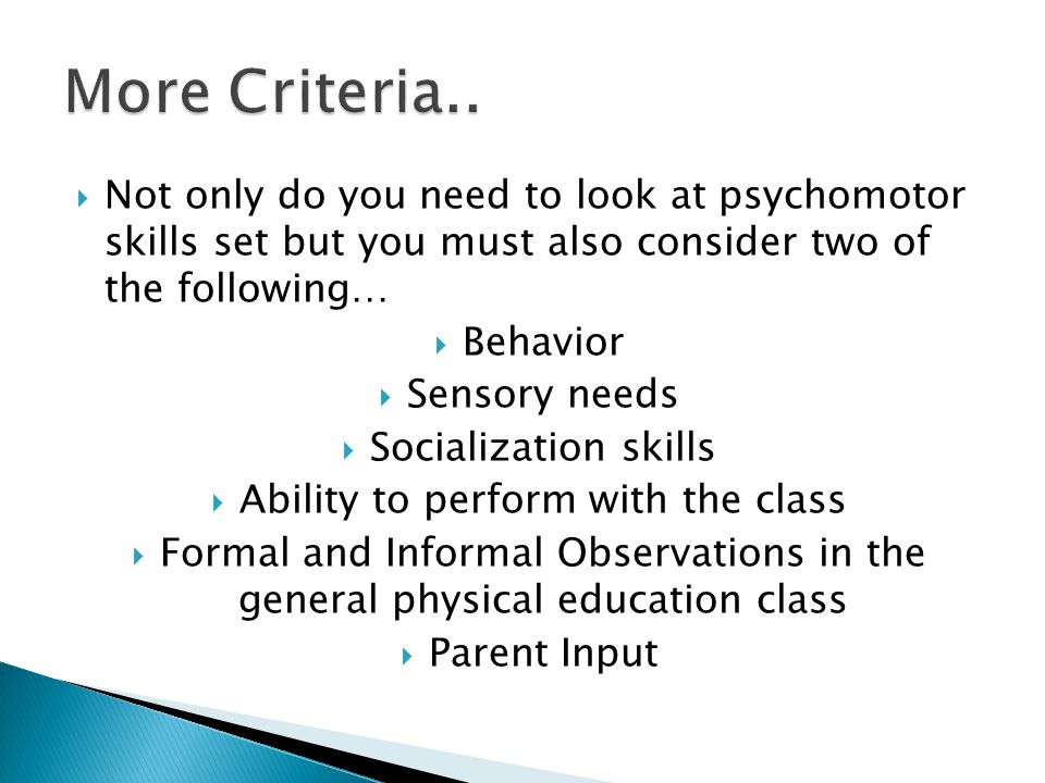 Ability to perform with the class
