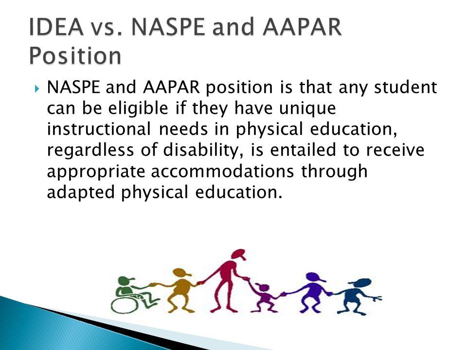 IDEA vs. NASPE and AAPAR Position