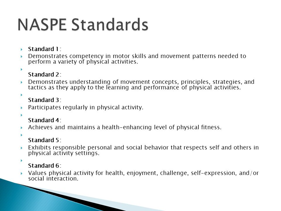 NASPE Standards Standard 1: