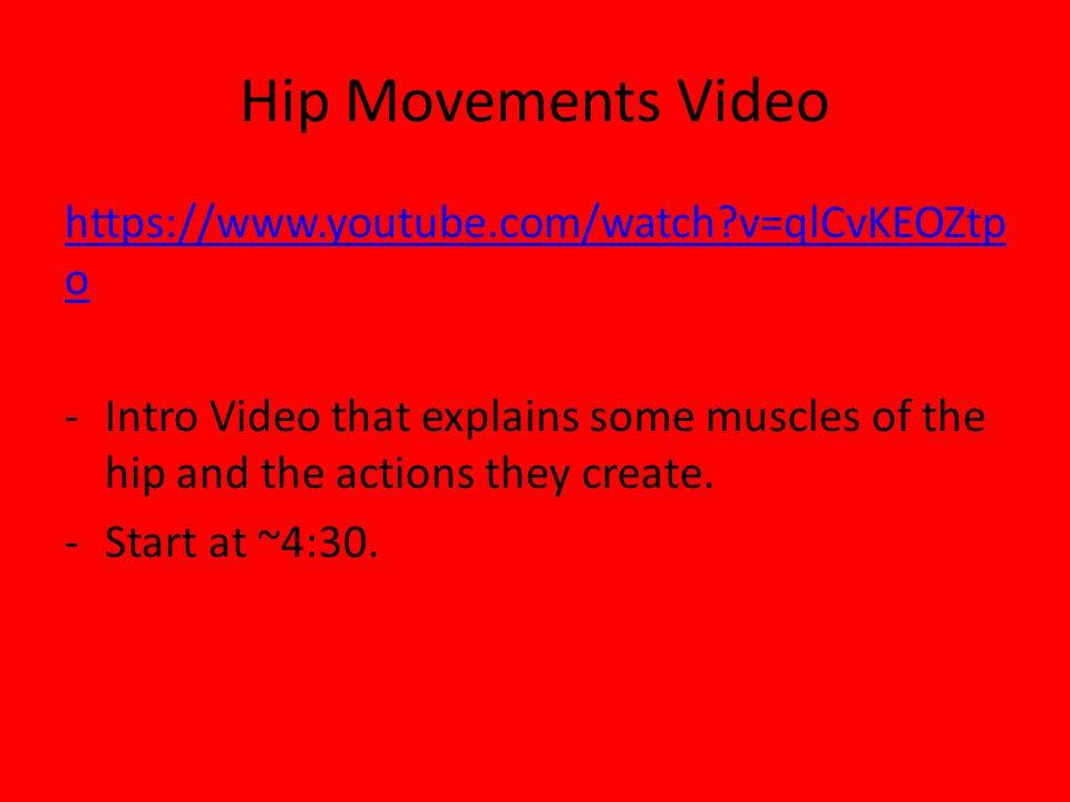 Hip Movements Video https://www.youtube.com/watch v=qlCvKEOZtpo
