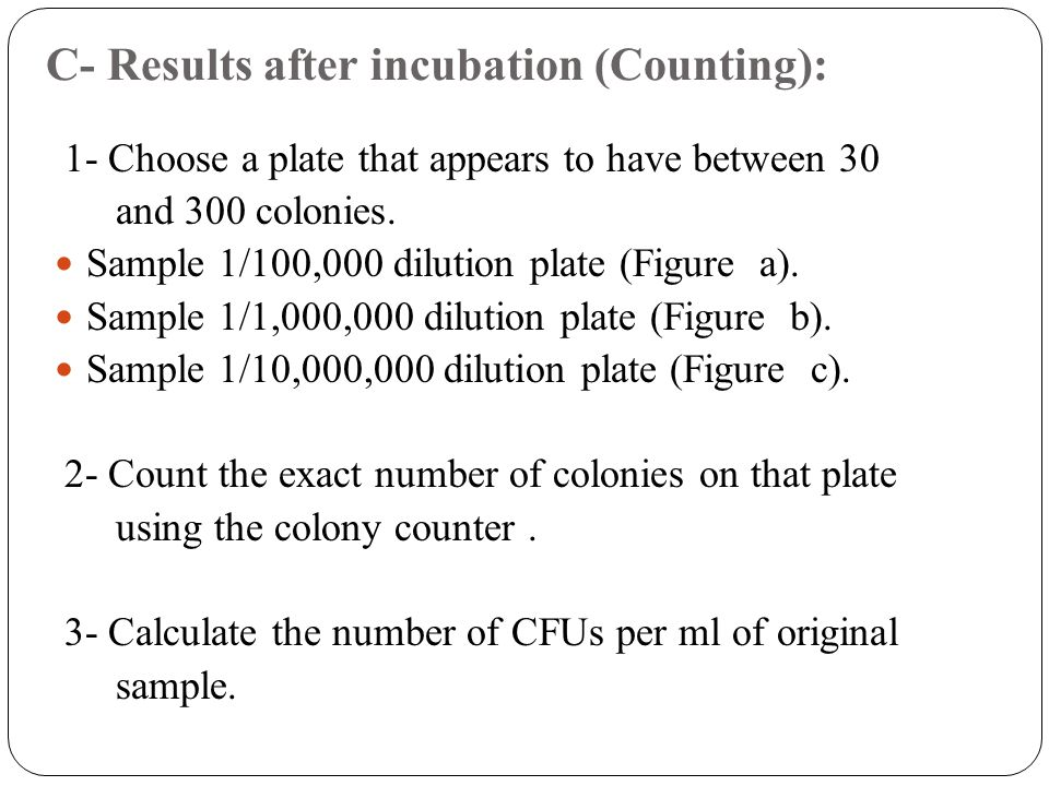 C- Results after incubation (Counting):
