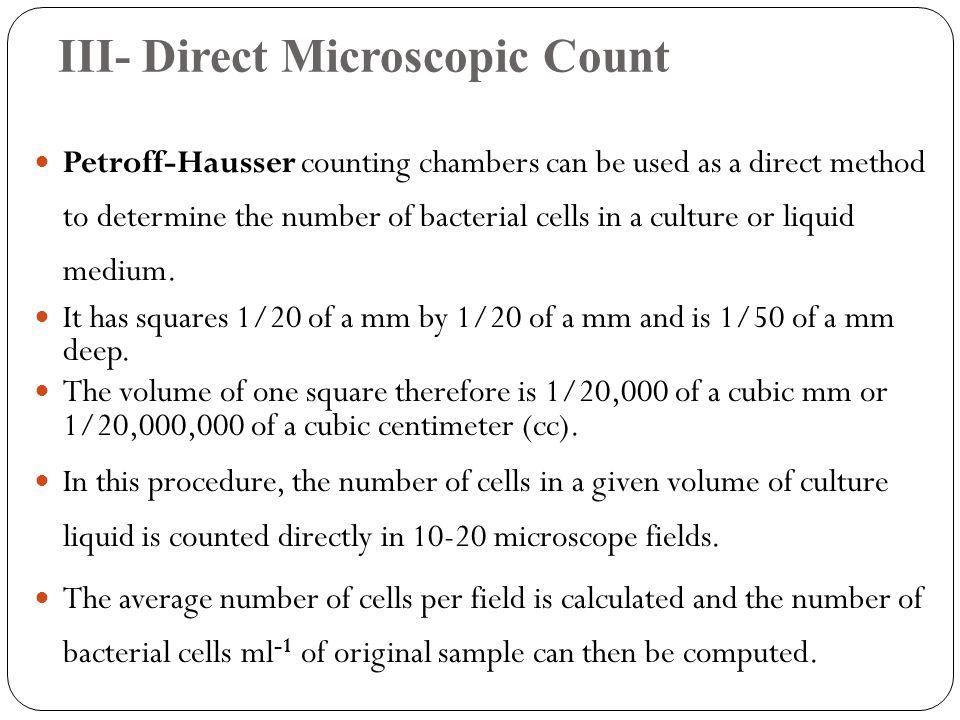 III- Direct Microscopic Count