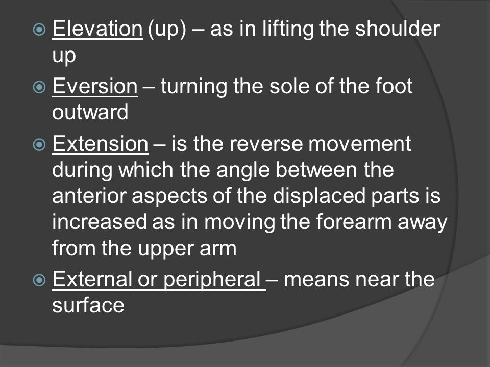 Elevation (up) – as in lifting the shoulder up
