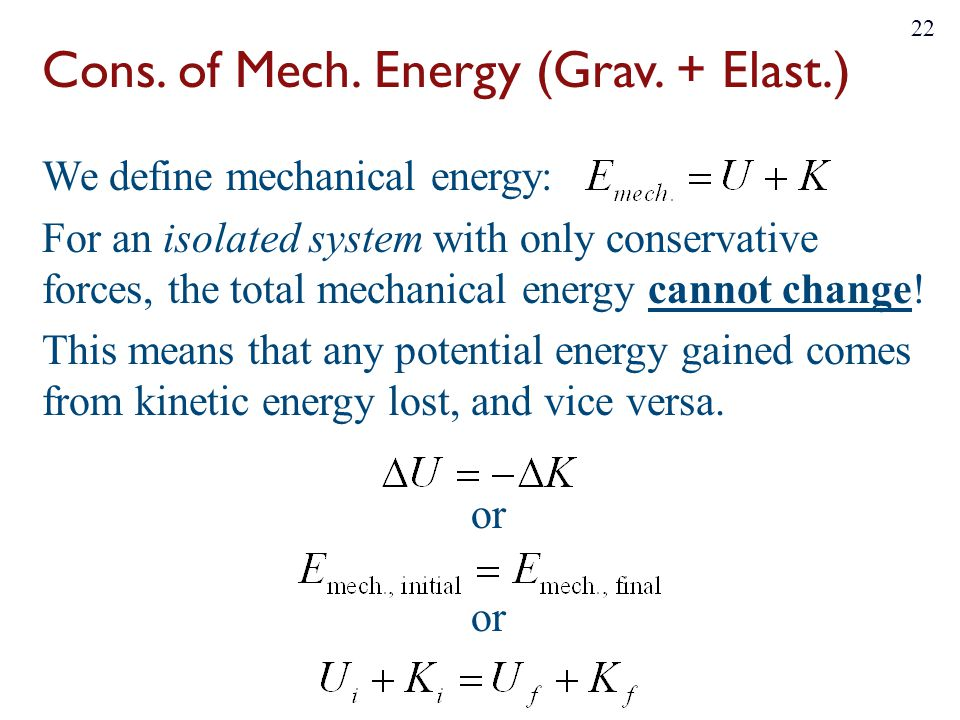 Cons. of Mech. Energy (Grav. + Elast.)
