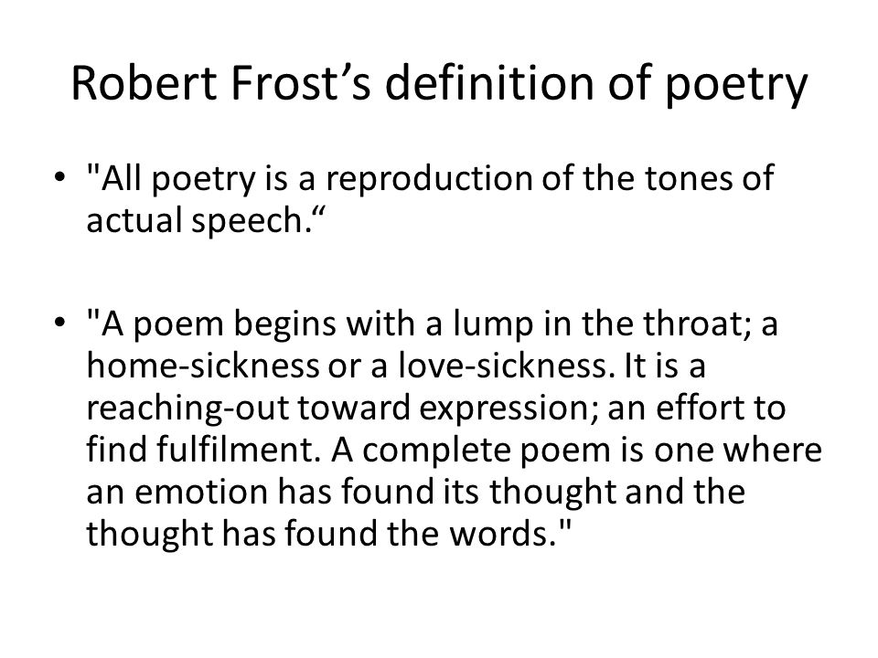 Robert Frost's definition of poetry