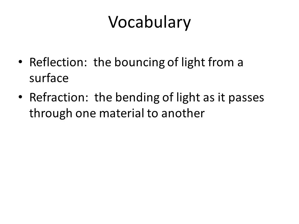 Vocabulary Reflection: the bouncing of light from a surface