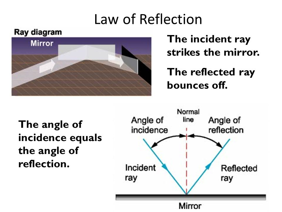 Law of Reflection The incident ray strikes the mirror.