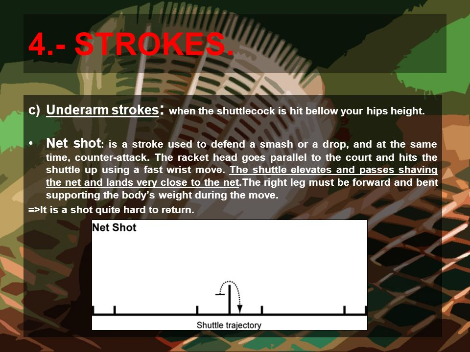 4.- STROKES. Underarm strokes: when the shuttlecock is hit bellow your hips height.