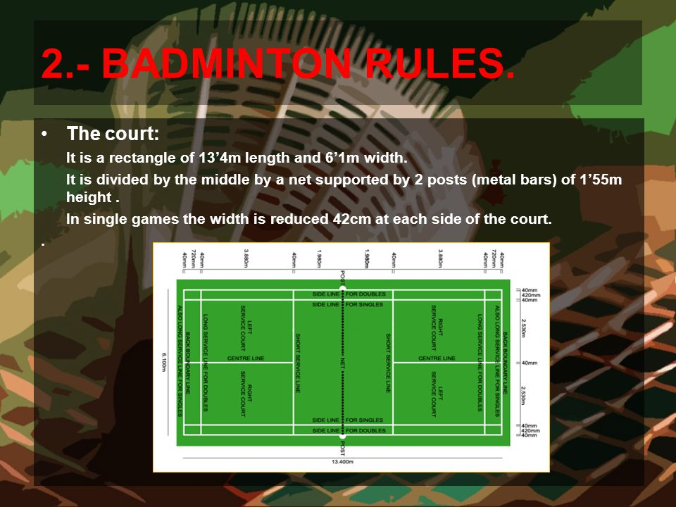 2.- BADMINTON RULES. The court: