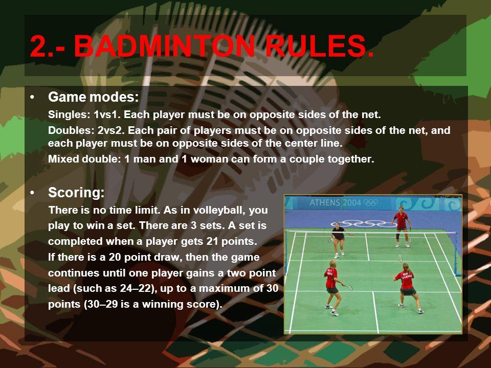 2.- BADMINTON RULES. Game modes: Scoring: