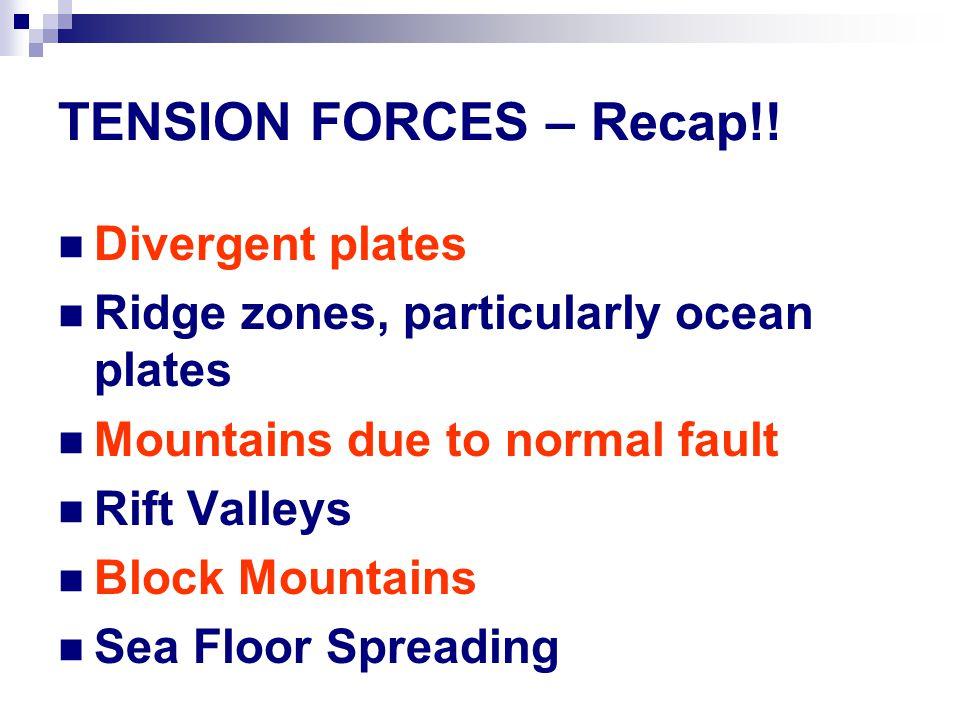 TENSION FORCES – Recap!! Divergent plates