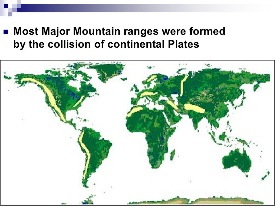 Most Major Mountain ranges were formed by the collision of continental Plates